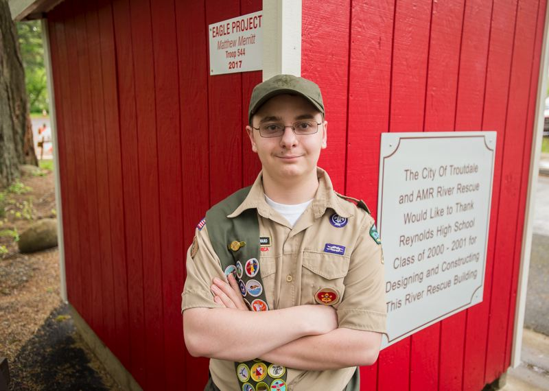 OUTLOOK PHOTO: JOSH KULLA - Boy Scout Matthew Merritt is a junior at Sam Barlow High School, where, in addition to his scouting activities, he enjoys metalwork and machining classes.