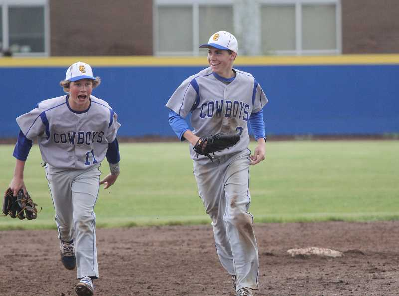 WILL DENNER/MADRAS PIONEER - Hunter Bishop's head first, diving catch in right field and subsequent double play suddenly halted the bottom of the fourth inning for Madras, and drew cheers from his teammates.