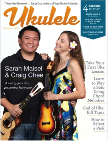 Craig Chee and Sarah Maisel on the cover of Ukulele magazine.