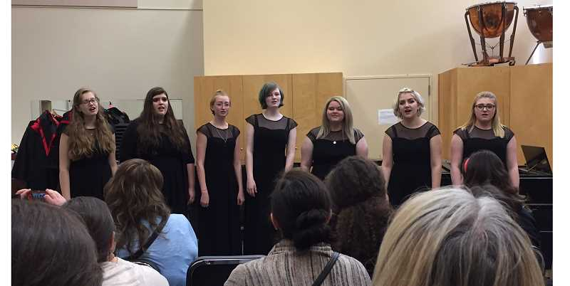 PHOTO COURTESY OF HANNAH MOORMAN - Belle Voix, the CCHS Women's Ensemble, performing at the State Chamber Festival on April 28.