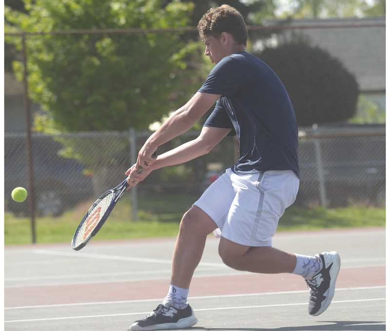 SPOKESMAN PHOTO: COREY BUCHANAN - Wilsonville singles player Jack Roche placed fourth in the Northwest Oregon Conference and qualified for state.
