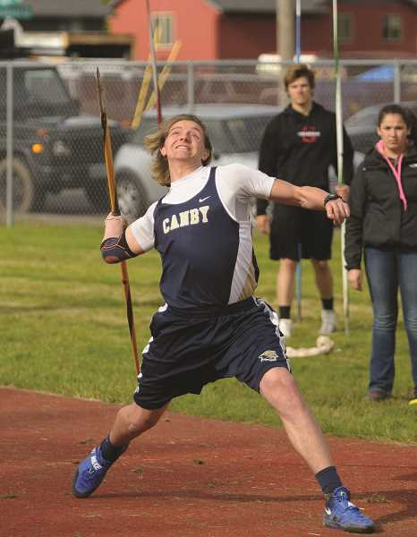 SUBMITTED PHOTO: SETH GORDON - Canby javelin thrower Cade Holbrook won the district title and qualified for state.