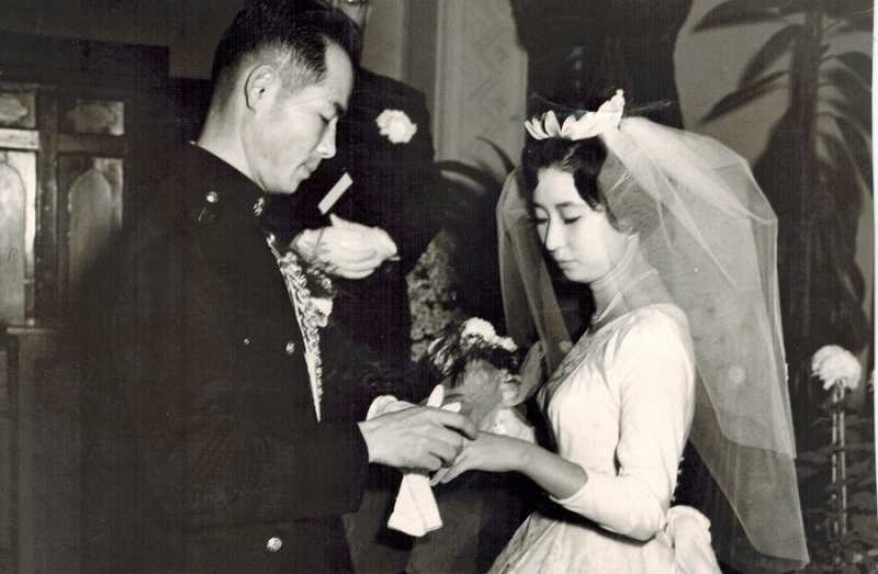 COURTESY OF MOON AND SUZY LEE - In Korea, couples often have both 'Western' and 'traditional' weddings, which Moon and Suzy Lee did in 1961 after meeting two years earlier in Seoul. Here they celebrate their Western wedding.