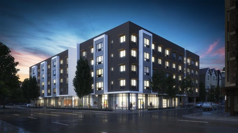 COURTESY PCRI - Artist's rendition of the future Beatrice Morrow affordable housing project being built on the site of the former Grant Warehouse.