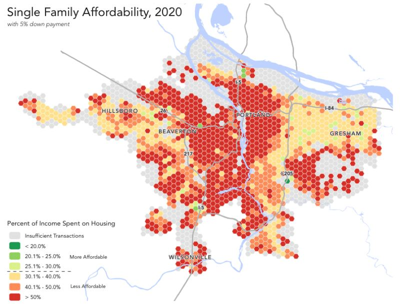 COURTESY ECONORTHWEST - This map represents the affordability of available housing stock for a household earning the region's median family income. Areas shaded green are considered affordable for these households. Areas shaded red, orange and yellow are not.