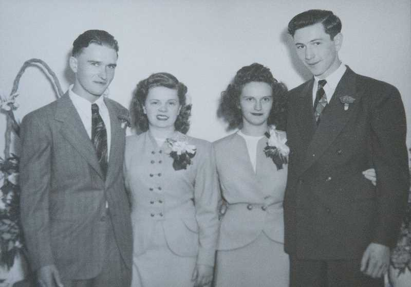 COURTESY PHOTO - Lillian and Mack Shafer (left) and Lloyd and Sally Fellas got married at Lillian's parents' home on Main Street and celebrated with cake and punch.