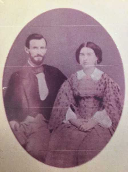 CONTRIBUTED PHOTO - Lucy Foster and Josiah Burnett are pictured on their wedding day in late 1850s. The pair would briefly settle in Roseburg before returning to Lucys adopted hometown of Eagle Creek.