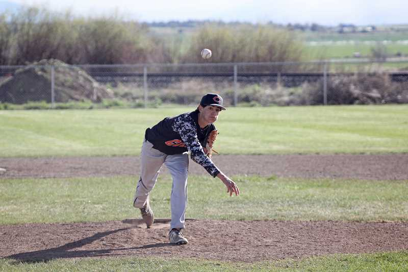 WILL DENNER/MADRAS PIONEER - Culver senior Brogan Alegre pitched a complete, five-inning outing in a 17-2 over Dufur. After Dufur scored two runs on two hits in the bottom of the first inning, Alegre blanked the Rangers in both of those categories the rest of the way.