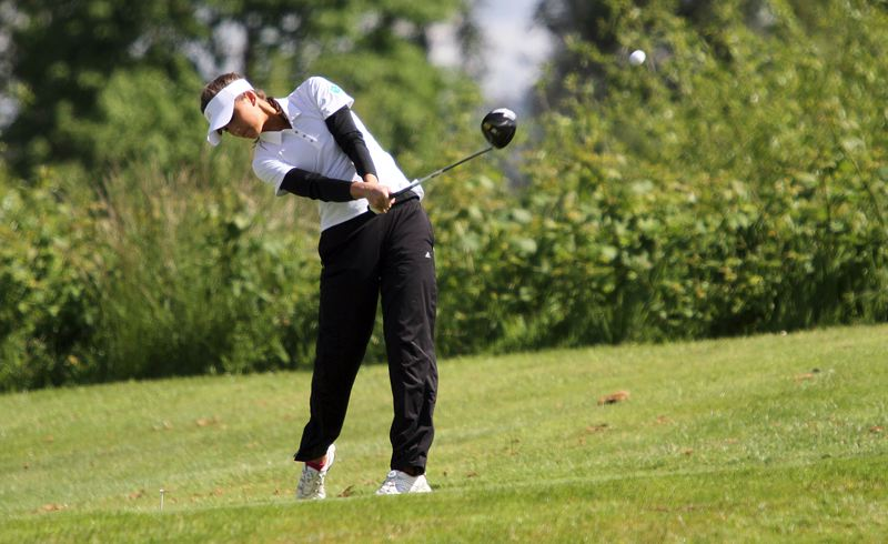 PMG PHOTO: MILES VANCE - West Linn's Summer Marshall played her way to a second-place tie in this week's Class 6A girls state golf championship, which concluded on Tuesday at Emerald Valley Golf Club in Creswell.