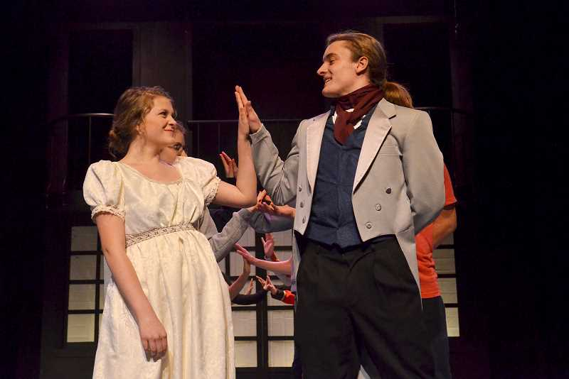 SPOKESMAN PHOTO: VERN UYETAKE - Wilsonville High's production of 'Pride and Prejudice' has a cast of nearly 50 students.