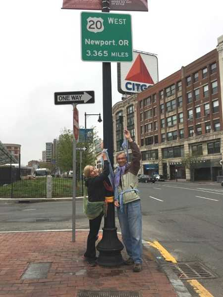 COURTESY OF SAL STROM AND LYNN MOYERS - The intrepid duo drove across the country from King City to Boston in a few days and posed with this sign in Boston; they previously posed with the equivalent sign in Newport.
