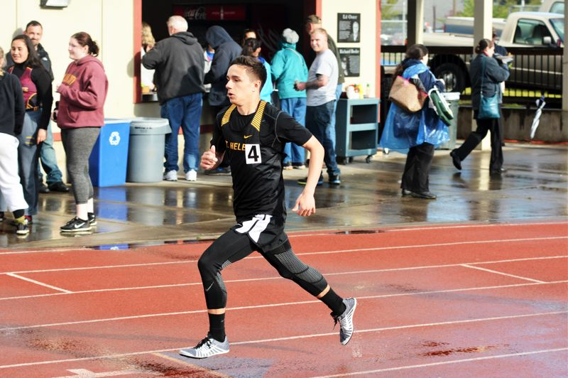 SPOTLIGHT PHOTO: JAKE MCNEAL - Lions junior Gabe Compton won the Northwest Oregon Conference boys' 800-meter run in 2 minutes, 4.25 seconds ahead of Sandy senior Abraham Mitchell (2:05.25).