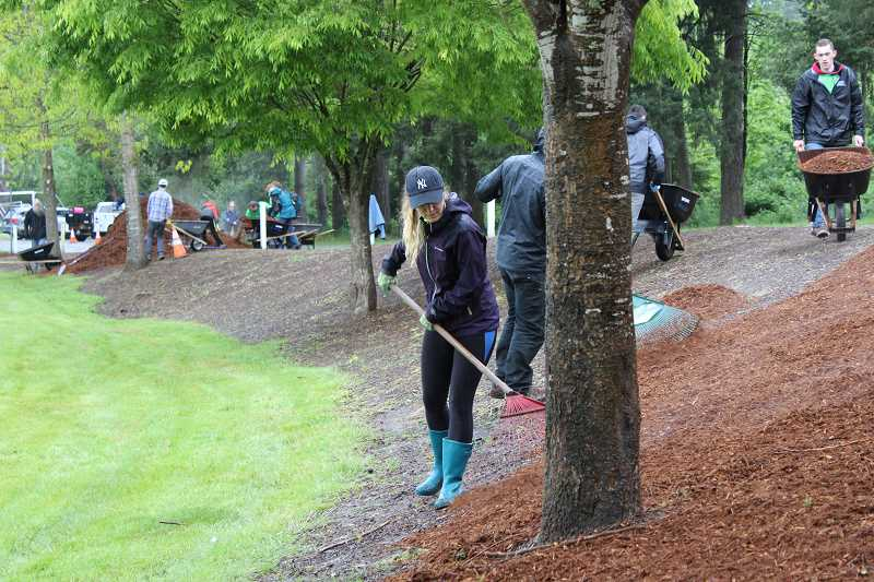 SPOKESMAN PHOTO: CLAIRE GREEN - WERK Day crews worked to spread fresh bark dust around the ball fields in the lower section of Memorial Park May 13.