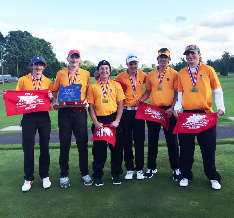 PHOTO CREDIT: DANNE' GRAY - From left, Indians junior Jake Gray, freshman Chase Elliot, seniors Colton Bush and AJ Miltich, junior Jack Eggers and senior Nathan Mapes led the entire way for Scappoose's first boys' golf state championship with a 310-328--638 on Monday and Tuesday at Trysting Tree Golf Club in Corvallis.