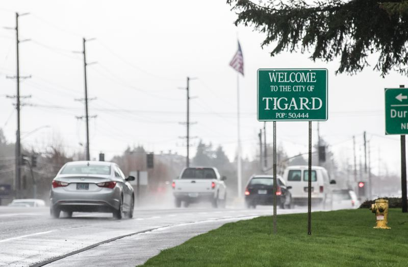 TIMES PHOTO: JONATHAN HOUSE - Cars drive through Tigard's city limits on Highway 99W, which cuts through the city in between Portland and Sherwood.