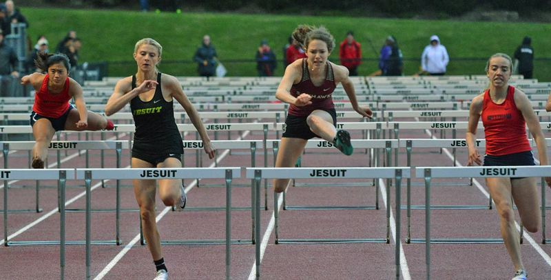 TIMES PHOTO: MATT SINGLEDECKER - Southridge junior Skyler Blair won both the 100 and 300 hurdles at the Metro League district championship.