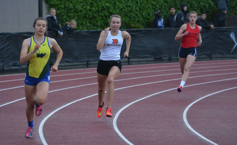 TIMES PHOTO: MATT SINGLEDECKER - Beaverton junior Natalie Perkins won her third straight Metro League district title in the 400 meters.