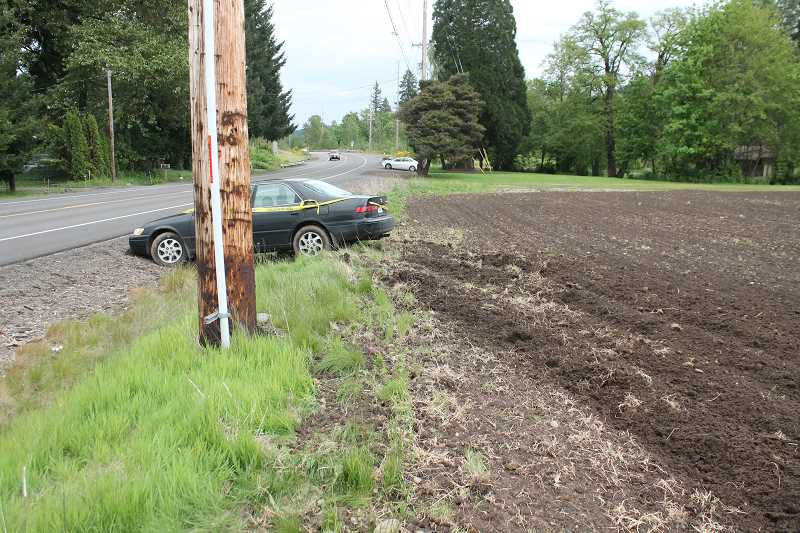 PIONEER PHOTO: CONNER WILLIAMS  - A northbound view of the vehicle shows tire tracks through a dirt field.