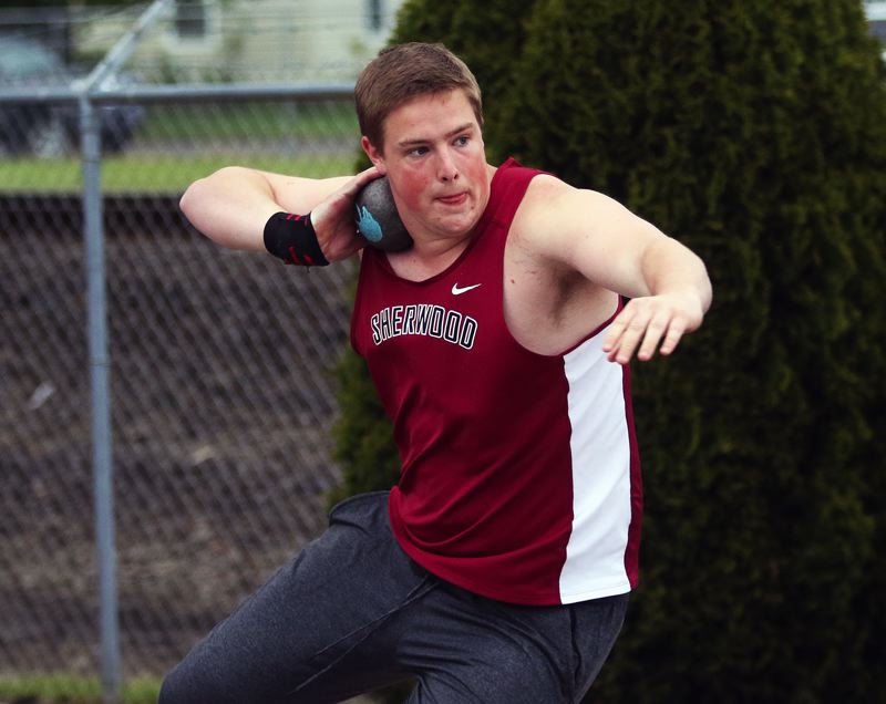 DAN BROOD - Sherwood High School senior Brady Pierce won a Three Rivers League district title in the shot put event.