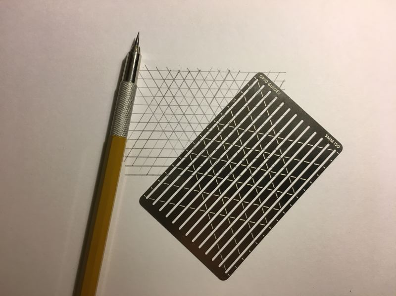 COURTESY: MICHAEL HILL  - A sample of Hills analog side project Grid Guides, which he uses to make drawing grids in a plain notebook.