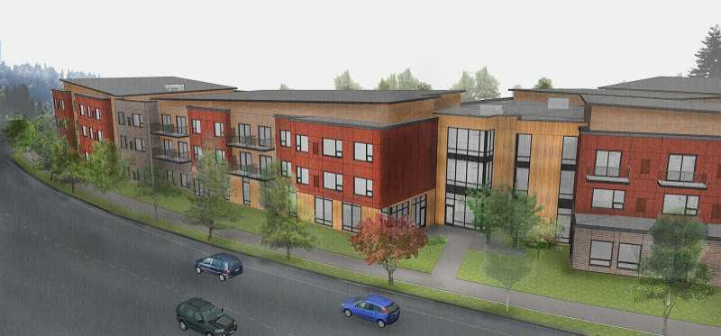 COURTESY - Apartment buildings are shown in this rendering.