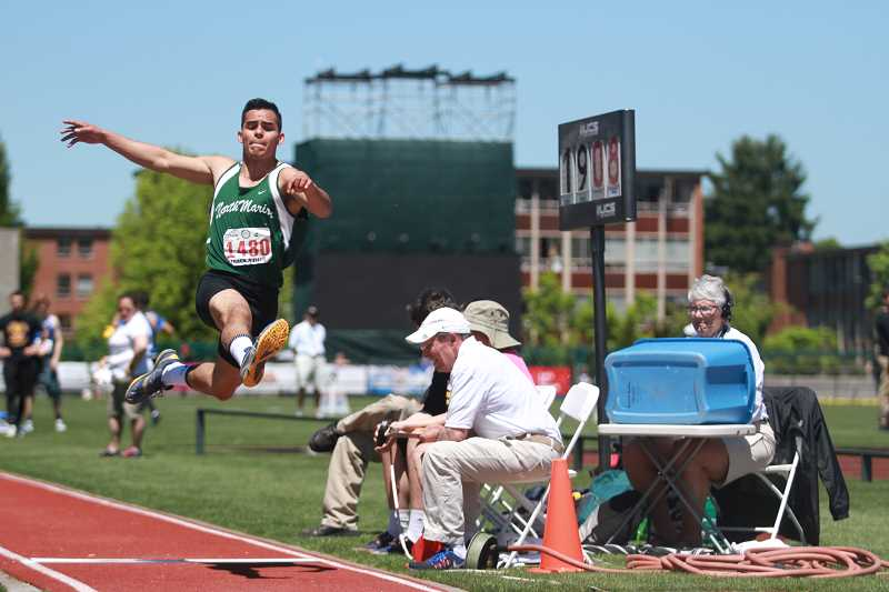PHIL HAWKINS - North Marion senior Ulises Vargas finished 10th in the 4A boys long jump finals with a mark of 20-00.50.