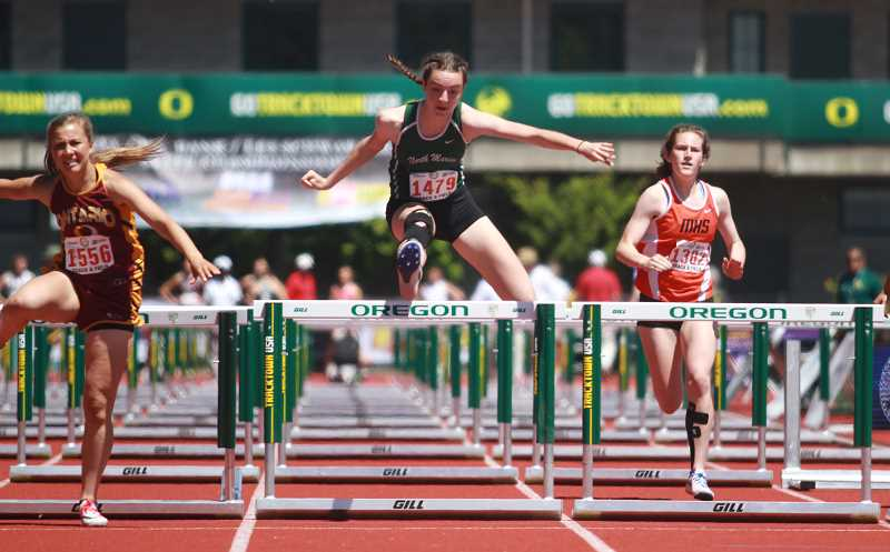 PHIL HAWKINS - North Marion sophomore Emily Scanlan makes her second trip to the state 4A girls 100-meter hurdles finals after placing sixth with a PR of 16.06 in Friday's preliminaries.