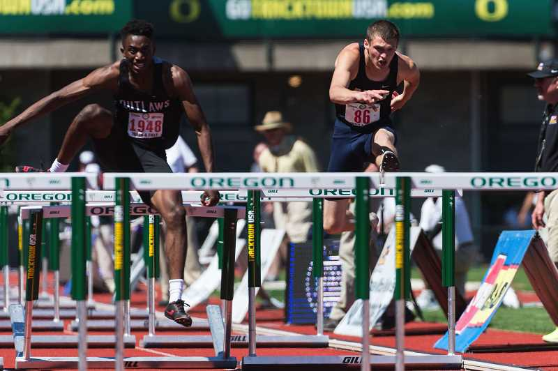 NEWS-TIMES PHOTO: CHRISTOPHER OERTELL - Banks' Levi Carreon (86) competes in the hurdles at last week's OSAA 4A State Track and Field Championships in Eugene.