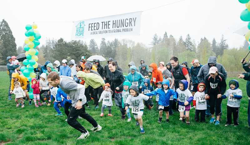 COURTESY PHOTO BY KAELA GILGES - The kids fun 1K race kicked off the SW Hope running events. Organizers said that 236 runners registered for the April runs (the adult 5K and 1K combined) and 18 volunteers participated.