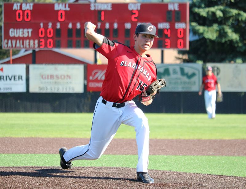 REVIEW/NEWS PHOTO: JIM BESEDA - Jeff Nelson three six shutout innins, scattering six hits with six strikeouts to help lead Clackamas to a 6-0 home win over Southridge in Monday's OSAA Class 6A baseball playoffs.