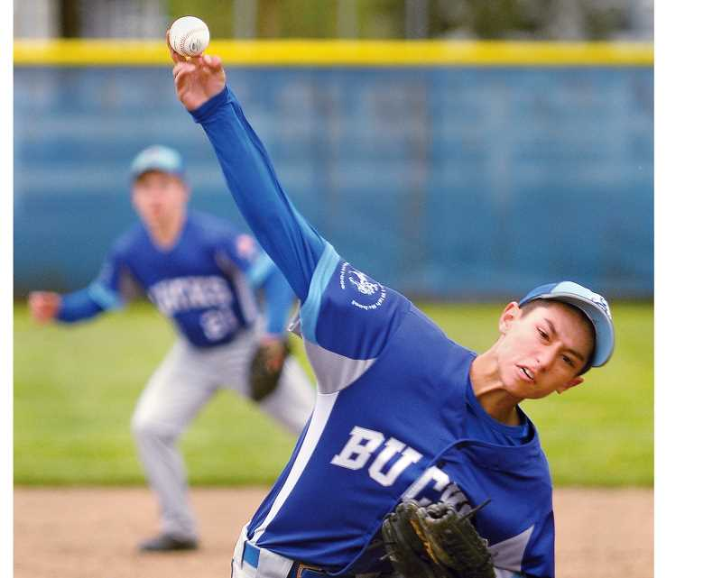 SETH GORDON - Sophomore pitcher Jaidyn Jackson fires to the plate during St. Paul's 5-4 extra-innings loss to Regis in the regular season finale May 17. The Bucks finished in a three-way tie for second in the Tri-River Conference, but fell 7-2 to Western Mennonite in a tiebreaker contest Saturday.
