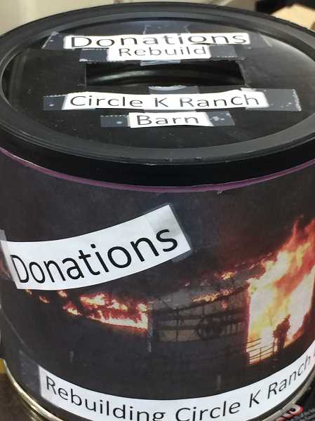 PIONEER PHOTO: CINDY FAMA  - Donation can at Colton Market to help Kispaugh family rebuild Circle K Ranch.