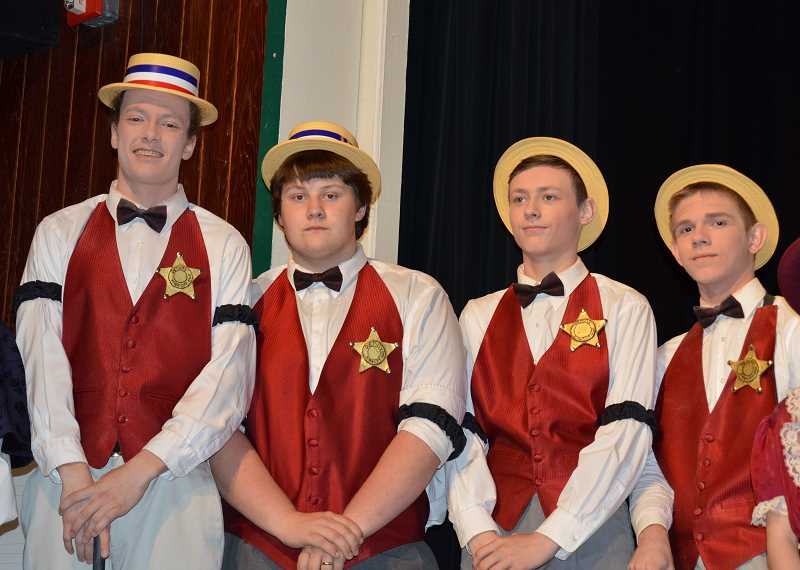 PIONEER PHOTO: CINDY FAMA  - Barbershop quartet from left to right: Austin Carlisle, Boone Bigonovich, Cayse Teach and Nichola Bryant.