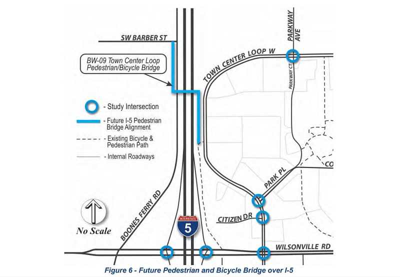 SUBMITTED PHOTO - The proposed future pedestrian and bicycle bridge crossing over Interstate 5 is being designed as a way to offer a safer, quicker route for pedestrians and cyclists to go from south to east Wilsonville and back.