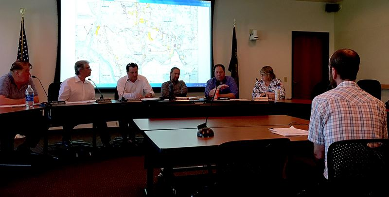 PAMPLIN MEDIA GROUP: PETER WONG - Clackamas County Planning Commission hears from Vahid Brown, housing policy coordinator, at a study session Monday night, May 22, on proposed zoning changes to allow transitional shelters (for homeless) in light and general industrial zones.