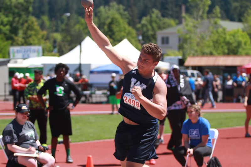 SUBMITTED PHOTO: PHIL HAWKINS - Wilsonville junior Draco Bynum placed fifth in the shot put at the Oregon State Championships May 18-20.