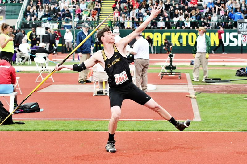 SPOTLIGHT PHOTO: JAKE MCNEAL - Lions senior Jacob Opdahl won the Class 5A state boys' javelin with a personal-best 178 feet, 7 inches in his final attempt, over La Salle Prep senior Sean Hamel (178-1) and Mountain View junior Luke Schulz (167-6) on Saturday, May 20, at Hayward Field at the University of Oregon in Eugene.