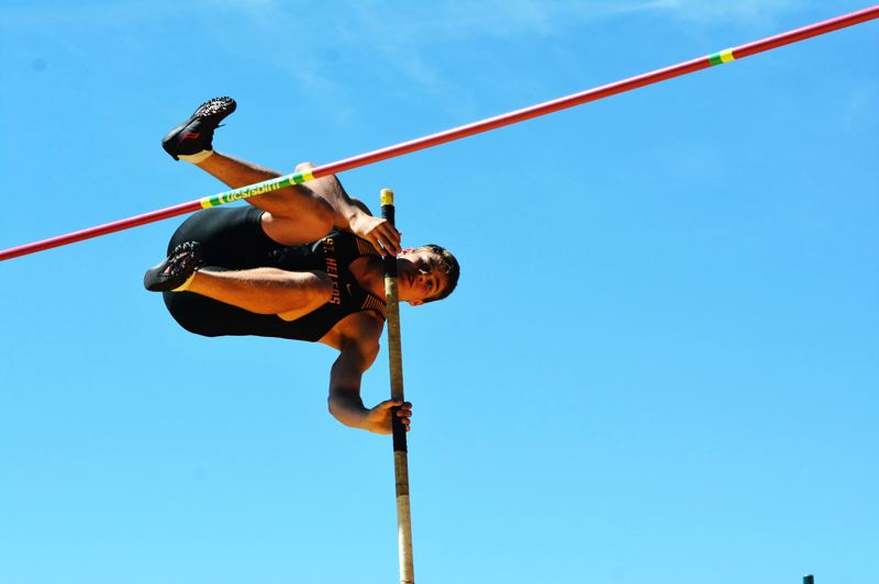 SPOTLIGHT PHOTO: JAKE MCNEAL - Lions senior Mason Rask sprang to ninth in the boys' pole vault at 12 feet, 6 inches.