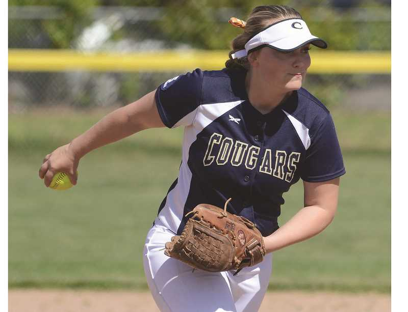 SUBMITTED PHOTO: DAVID BALL -  Canby pitcher Emily Goodman threw a complete game, gave up two earned runs and drove in two runs during the Cougars victory over Reynolds Thursday, May 18.