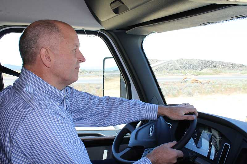 HOLLY M. GILL - Daimler Trucks North America President and CEO Roger Nielsen takes a Cascadia truck out for a drive over the new test tracks.