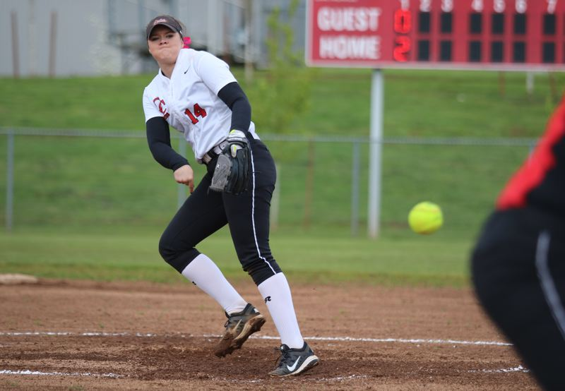 REVIEW/NEWS PHOTO: JIM BESEDA - Oregon City's Morgan Hornback was named the Mt. Hood Conference's softball Player of the Year in voting by the league's coaches.
