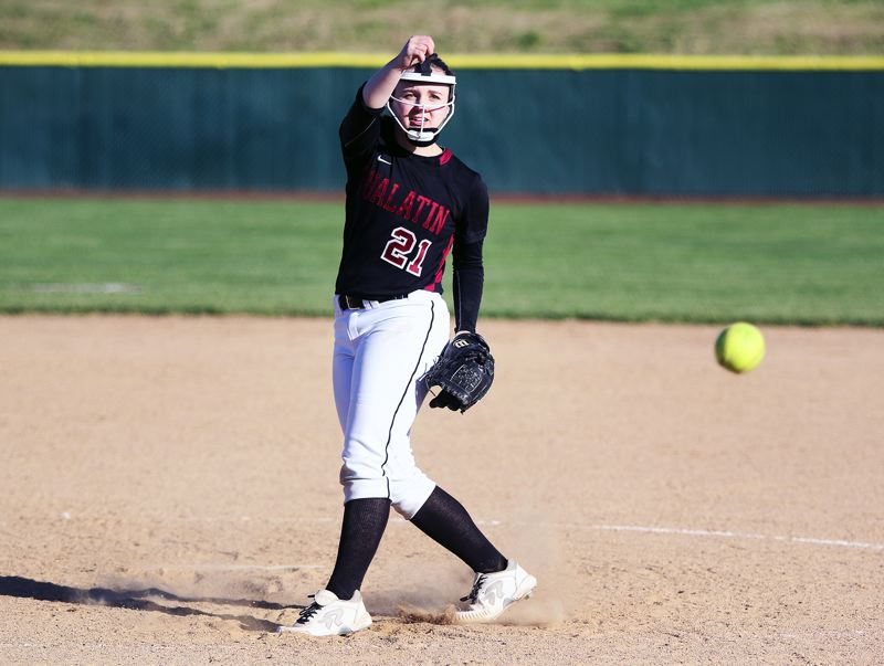 DAN BROOD - Tualatin junior Megan Woodward gave up just one run, on two hits, in the state playoff win over McMinnville.
