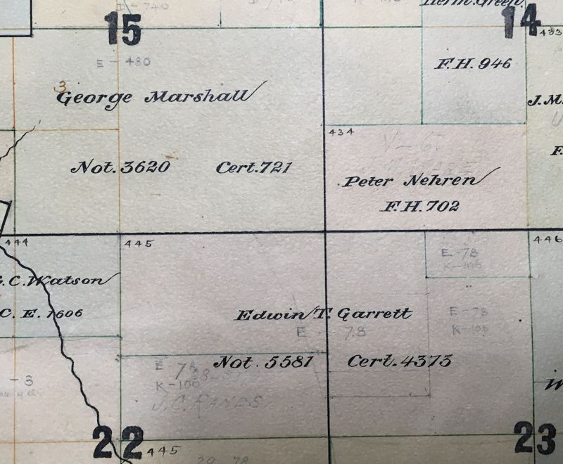 PHOTO COURTESY: CLACKAMAS COUNTY HISTORICAL SOCIETY - 1870s Clackamas County Assessor's map of Donation Land Claims of Edwin T. Garrett and George Marshall.