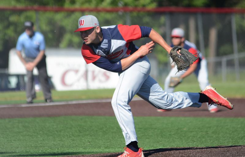 PAMPLIN MEDIA: DAVID BALL - Westview pitcher Willie Weiss follows through on a throw. He struck out two and retiried the side in order twice.