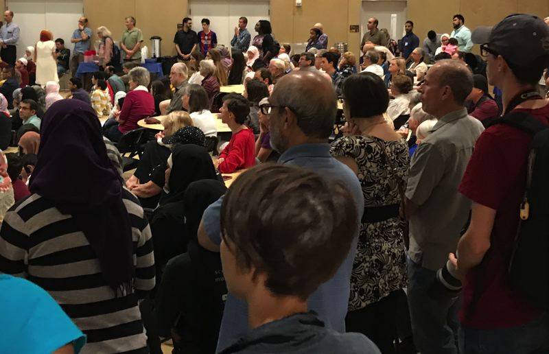 Hundreds gather at Muslim Center in wake of deadly train attack
