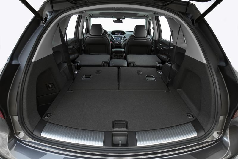 AMERICAN HONDA MOTOR CO. - Cargo space in the 2017 Acura Sport Hybrid AWD is enormous with the last two rows of seats folded down.