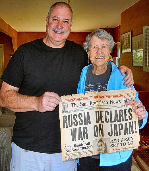 ELIZABETH USSHER GROFF - Mick Scanlan is massage therapist for ninety-two year old Skipper Wood. They have the Navy in common, and Wood says she still has a few old newspapers dating from her WWII service in the Waves. This one dates back to August 8, 1945.