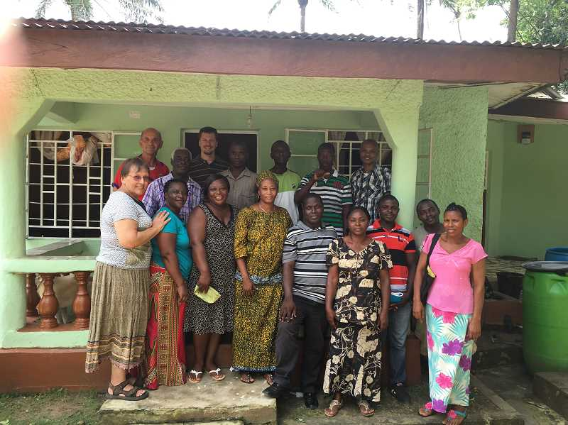 SUBMITTED IMAGE - Members of the Canby Alliance Church with Sam (third from right, front) and Josephine (fourth from right, front_ Sesay.