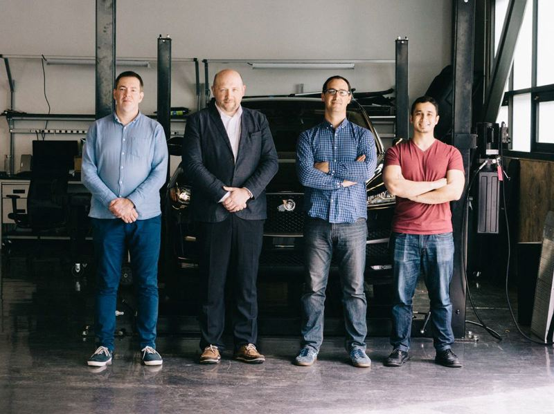 COURTESY JAGUAR LAND ROVER  - From left, Rihards Gailums (CEO of PILOT), Andris Eihmanis (CTO of PILOT), Austin Teames (Head of Product Management at LISNR), and Ian Birnam (Product Manager at LISNR) will be part of the Jaguar Land Rover Tech Incubator for the next six months.