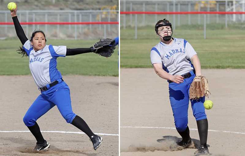 WILL DENNER/MADRAS PIONEER - Freshman Jiana Smith-Francis (left) and sophomore Lizzie Steuart (right) both earned second-team TVC honors for their efforts on the circle. The only two pitchers ahead of them — Crook County's McKuenzie McCormick and Gladstone's Madi Mott — will both play collegiately next year.